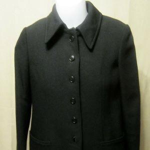 Vintage 70s 80s ANNE KLEIN Razooks Wool Coat Black